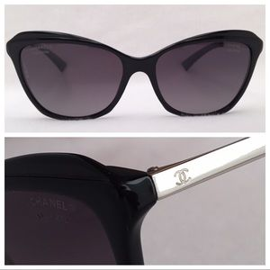 CHANEL *Polarized* CatEye CH5384 Black/Silver sz55